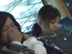 Japanese Teen Gets Fingered And Gives Head On A Public Bus