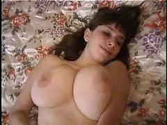 Brunette With Huge Tits Strips And Plays With Herself