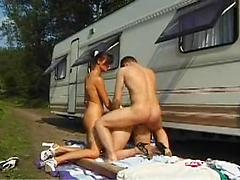 Amazing Hot Threesome Outdoors With Two Horny Babes
