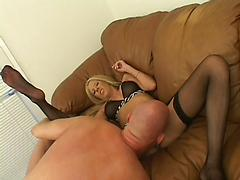 Hot Blonde Babe In Panty Hose In Foot Worship Clip