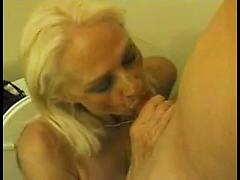 Old Blonde Tart Fucks in the Bathroom