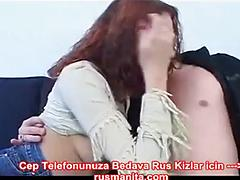 Russian girl in fishnet sucking on sofa and man cum inside