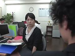 Asian office chick in black nylon pantyhose enjoys the clothed sex