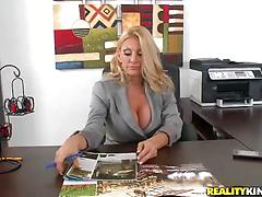 Blonde milf with big round tits fucked on the office table