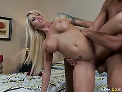 Blonde pornstar with fake tits fucked nastily by a sexy dude
