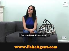 Slender girl gets fucked by a skillful guy at a casting