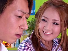 Passionate Asian girl Minori Hatsune sits on her lover's face and cock