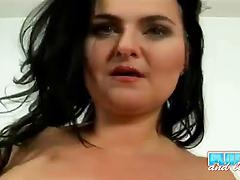 Horny chick Reny squeezes her big boobs and toys her vag