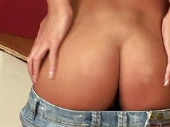 Appetising babe Missy with peachy ass is busy with pussy toying