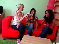Three college teens in sexy thongs arrange a lesbian threesome