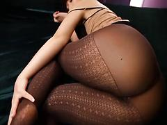 Glamorous Japanese chick in sexy pantyhose in hardcore shagging