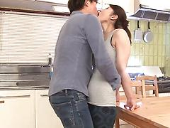 Asian mature chick with saggy boobs fucked on the kitchen table
