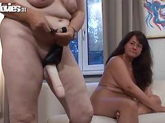 Kinky BBW grannies fuck each other really hard with a strapon