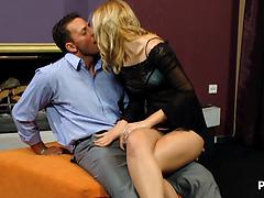 Sexy Blonde Cindy Jerks Him Off On Her Naked Pussy