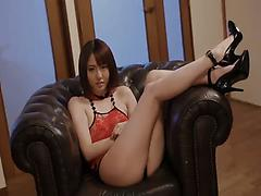 Super luscious Asian pornstar in high heels gets toyed and pounded